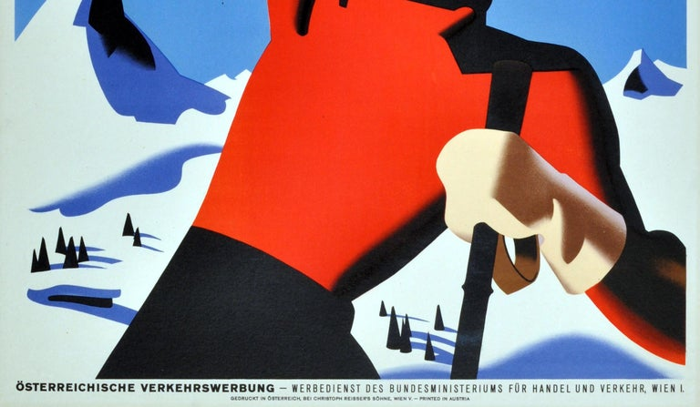 Original Vintage Winter Sport Skiing Poster For Autriche Austria Skier Mountains In Good Condition For Sale In London, GB