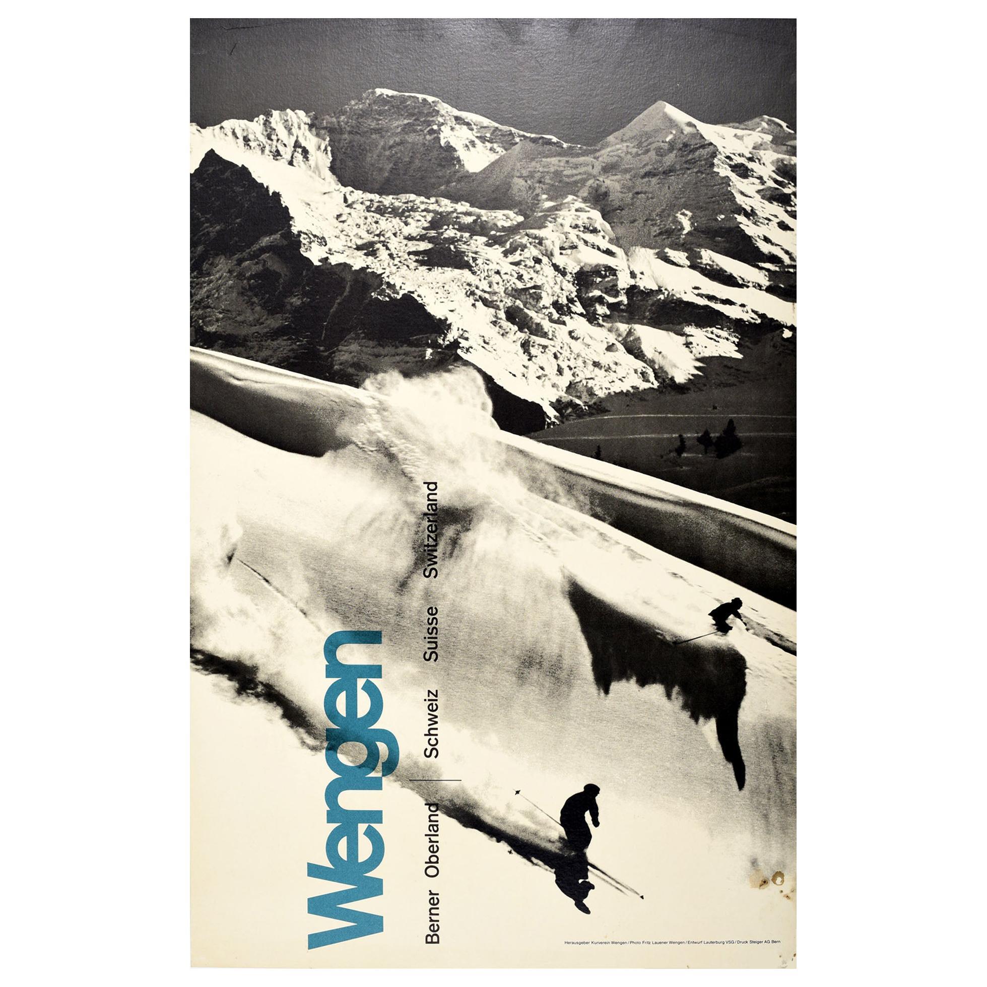 Original Vintage Winter Sport Skiing Poster Wengen Berner Oberland Switzerland