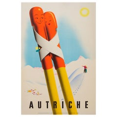 Original Vintage Winter Sport Skiing Travel Poster Austria Autriche Romantic Ski