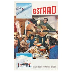 Original Vintage Winter Sport Travel Poster Gstaad Ski Resort Music Fondue Photo
