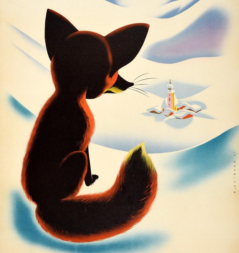 Original vintage travel poster for Osterreich / Austria featuring a great illustration by Walter Hofmann (1906-1975) of a red fox sitting on the snow in the foreground, looking down at a snow topped church and village buildings nestled in a valley