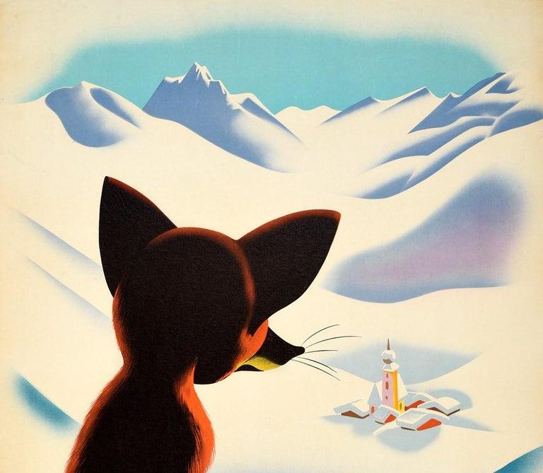 Austrian Original Vintage Winter Travel Poster Osterreich Austria Fox Snow Mountains View For Sale
