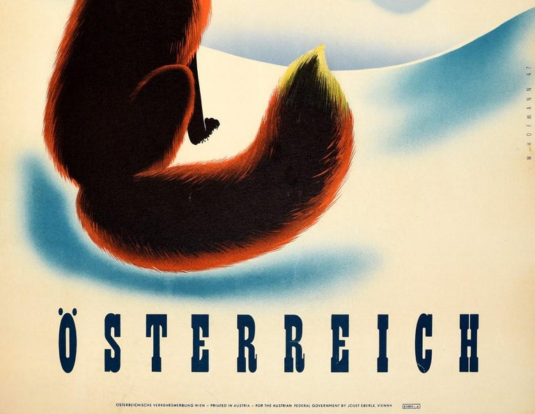 Original Vintage Winter Travel Poster Osterreich Austria Fox Snow Mountains View In Good Condition For Sale In London, GB