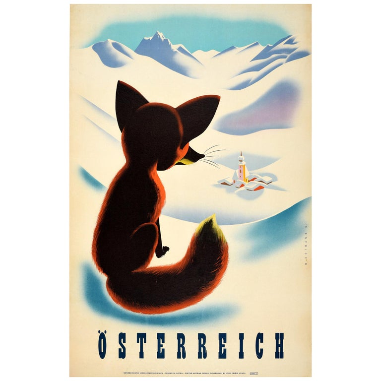 Original Vintage Winter Travel Poster Osterreich Austria Fox Snow Mountains View For Sale
