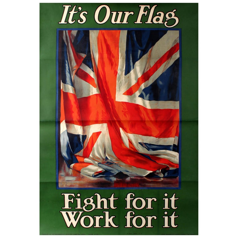 Original Vintage World War One Recruitment Poster WWI It's Our Flag Fight for It For Sale