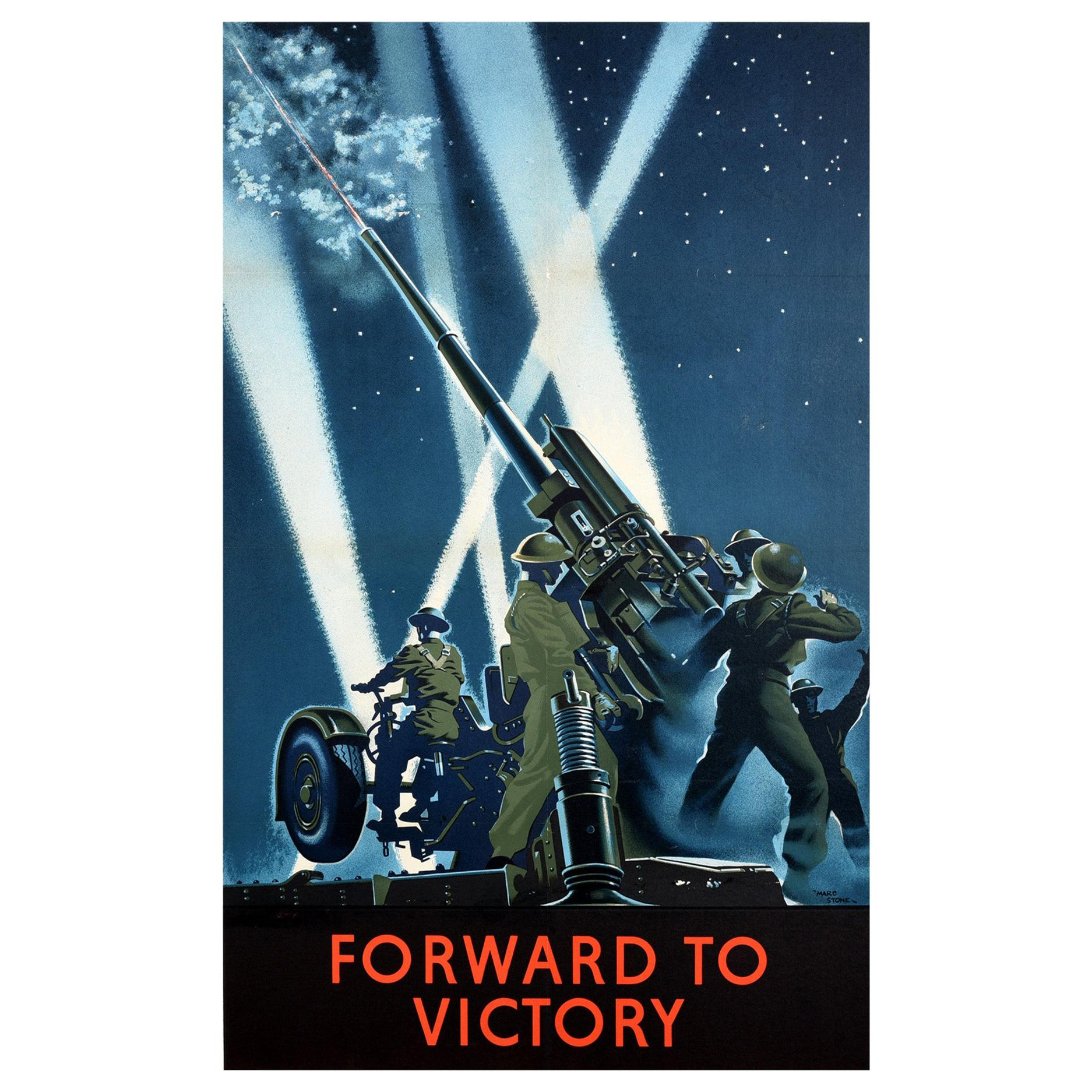 Original Vintage World War Two Poster Forward To Victory WWII Army Artillery Gun