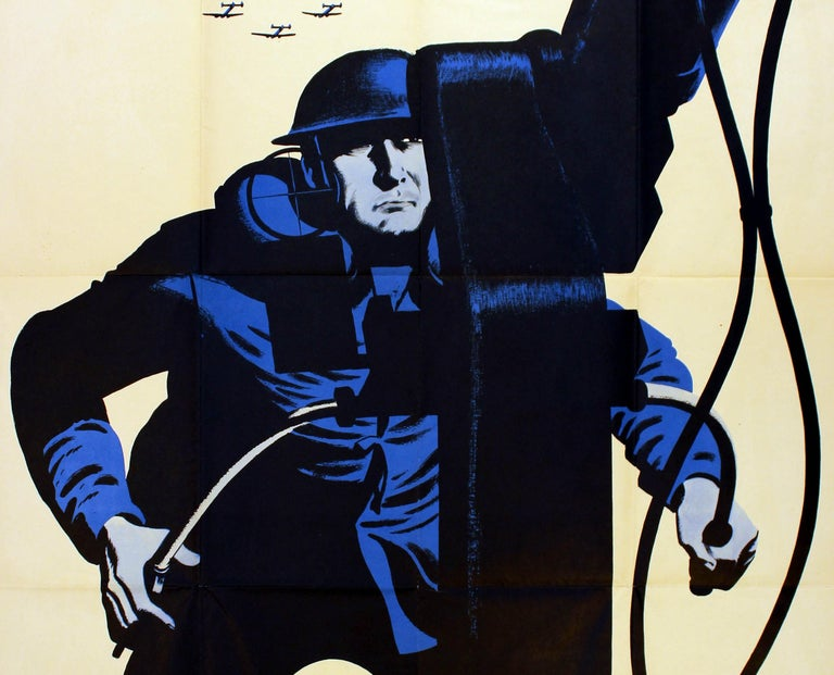 American Original Vintage World War Two Poster More Production He's A Fighting Fool WWII For Sale