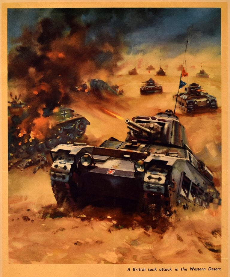 Original vintage World War Two propaganda poster, Back Them Up! A British tank attack in the Western Desert, featuring a dynamic illustration of a tank marked with a British flag on the front driving up a small sandy hill with the shot fired from