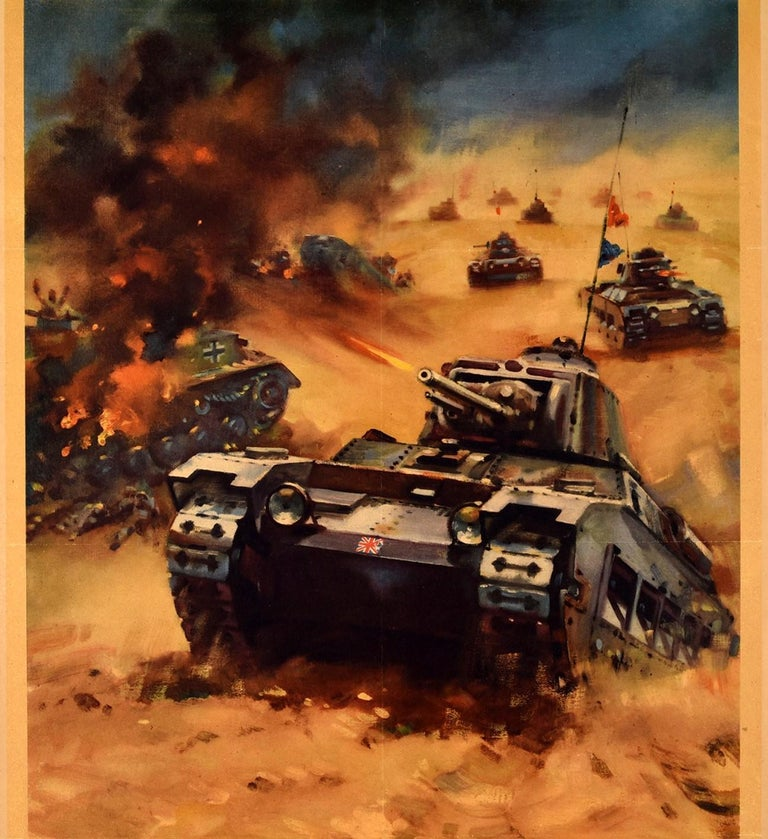 Original Vintage WWI Propaganda Poster Back Them Up Tank Attack Western Desert In Good Condition For Sale In London, GB