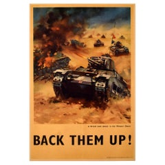 Original Vintage WWI Propaganda Poster Back Them Up Tank Attack Western Desert