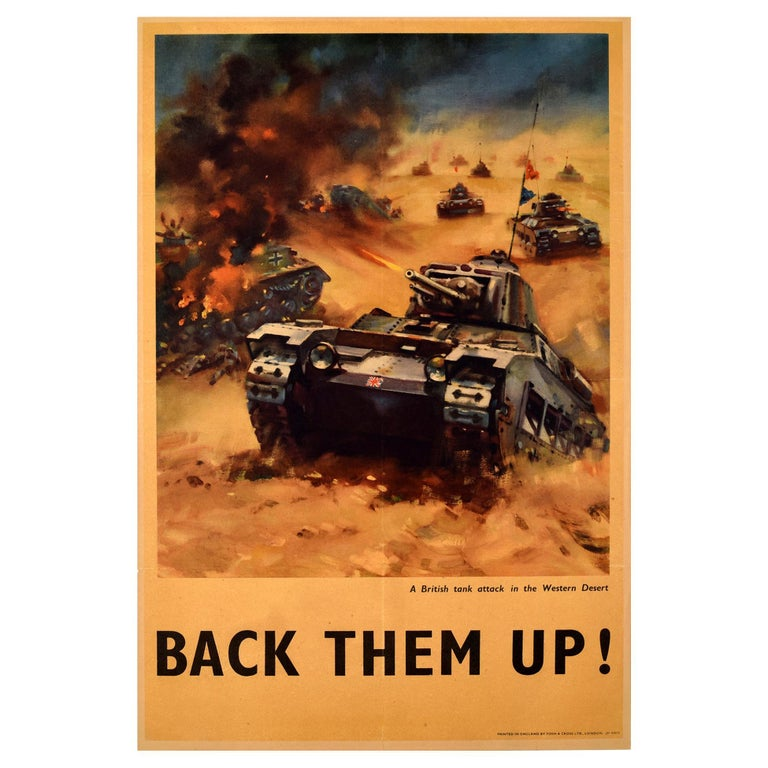 Original Vintage WWI Propaganda Poster Back Them Up Tank Attack Western Desert For Sale