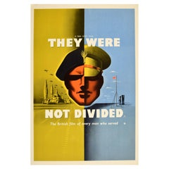 Original Vintage WWII Film Poster They Were Not Divided Tank Division Modernism