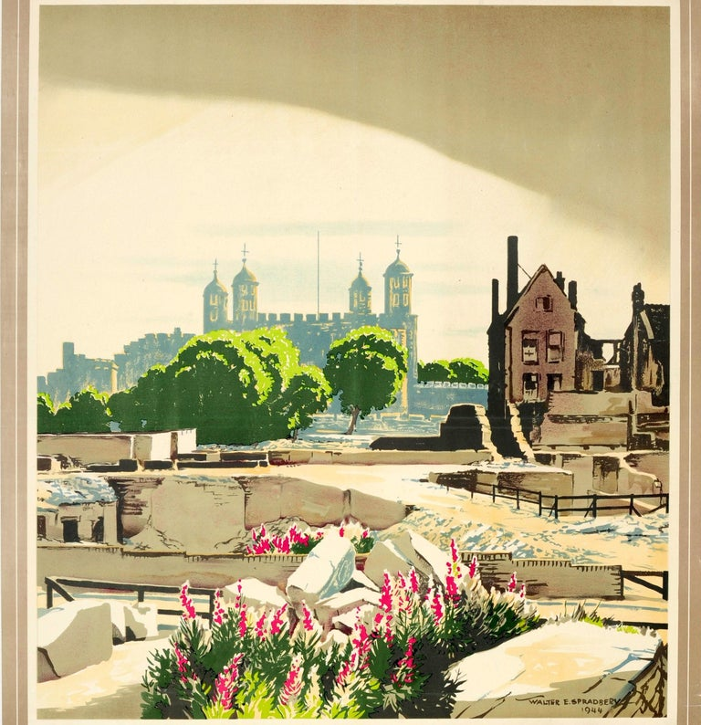 British Original Vintage WWII London Transport Poster The Proud City Tower of London For Sale