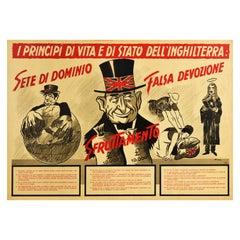 Original Vintage WWII Poster Anti British State Values Domination Exploitation