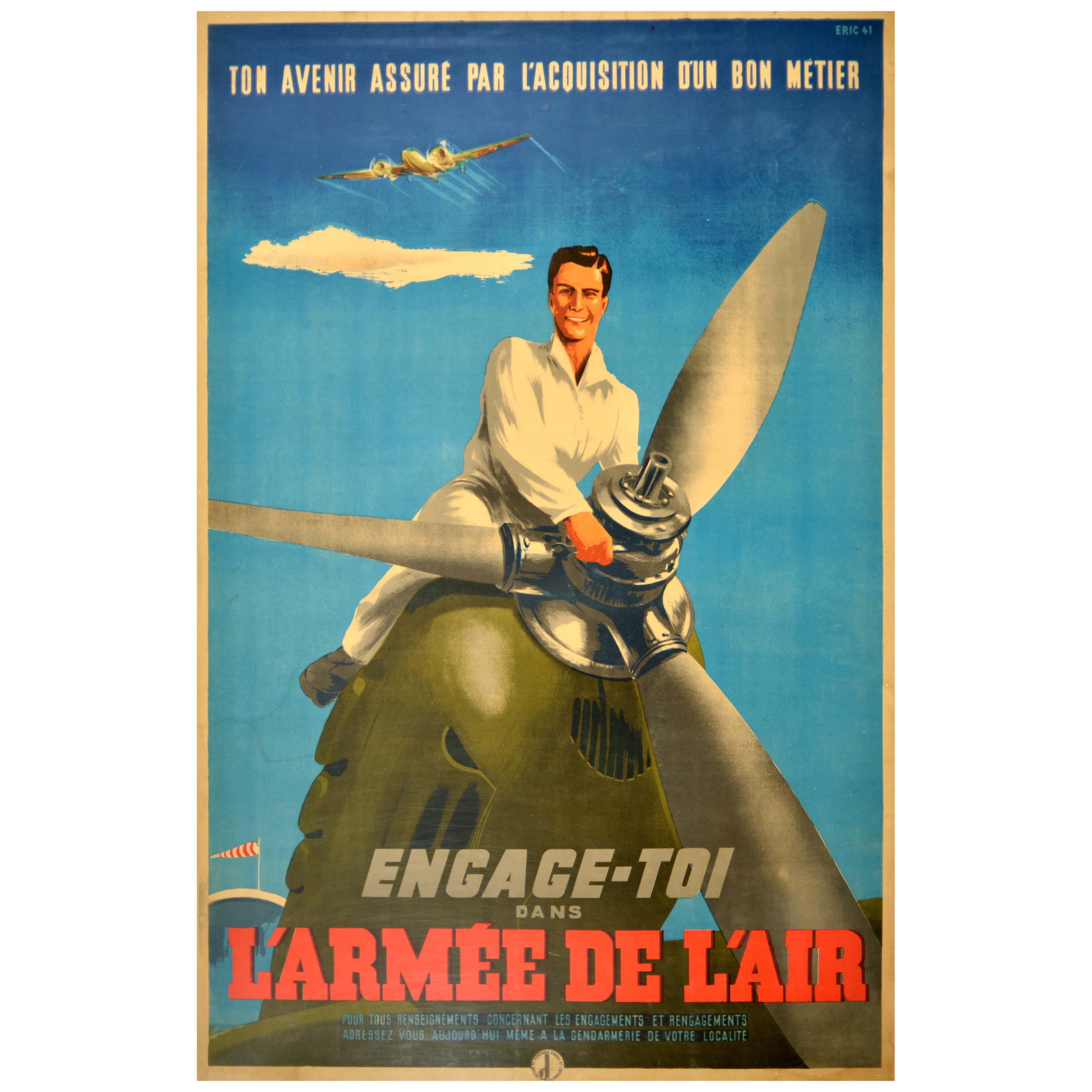 Original Vintage WWII Poster Armee De L'Air Force France Military Recruitment