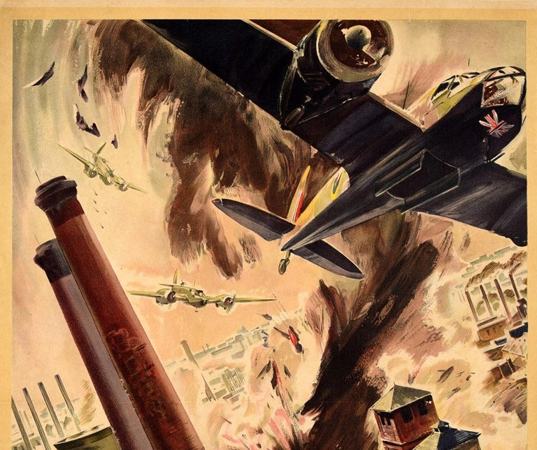 Original vintage World War Two poster - Back Them Up! - featuring dynamic artwork by Leslie James Gardner (1907-1995) depicting RAF Royal Air Force Bristol Blenheim aircraft dropping bombs during a raid on an Industrial facility near Cologne / Koln