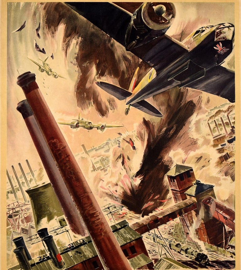 British Original Vintage WWII Poster Back Them Up RAF Royal Air Force Aircraft Bomb Raid For Sale