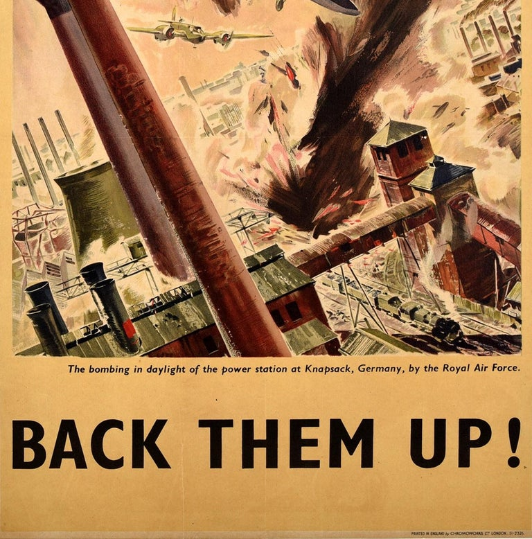 Original Vintage WWII Poster Back Them Up RAF Royal Air Force Aircraft Bomb Raid In Good Condition For Sale In London, GB