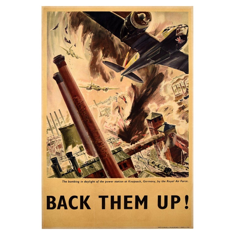 Original Vintage WWII Poster Back Them Up RAF Royal Air Force Aircraft Bomb Raid For Sale