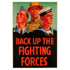 Original Vintage WWII Poster Back Up The Fighting Forces British Army RAF Navy