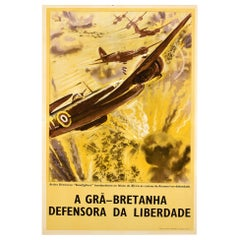 Original Vintage WWII Poster Britain Defender Of Freedom Africa RAF Beaufighters