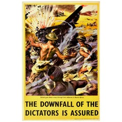 Original Vintage WWII Poster Downfall Of The Dictators British Guns North Africa