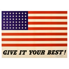 Original Vintage WWII Poster Give It Your Best Home Front War Effort USA Flag