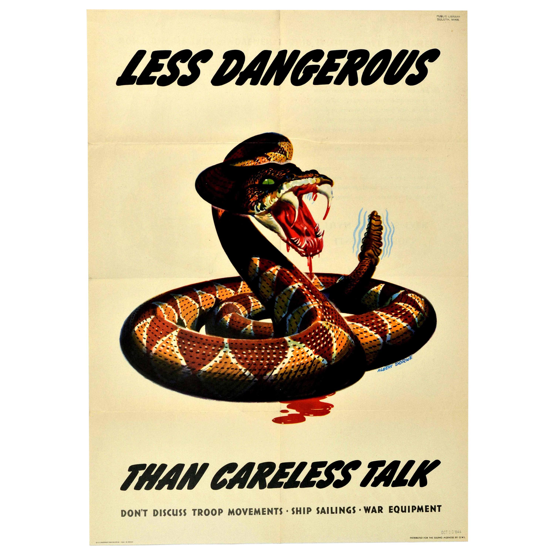 Original Vintage WWII Poster Less Dangerous Than Careless Talk War Snake Design