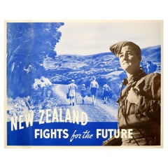 Original Vintage WWII Poster New Zealand Fights for the Future Soldier Children