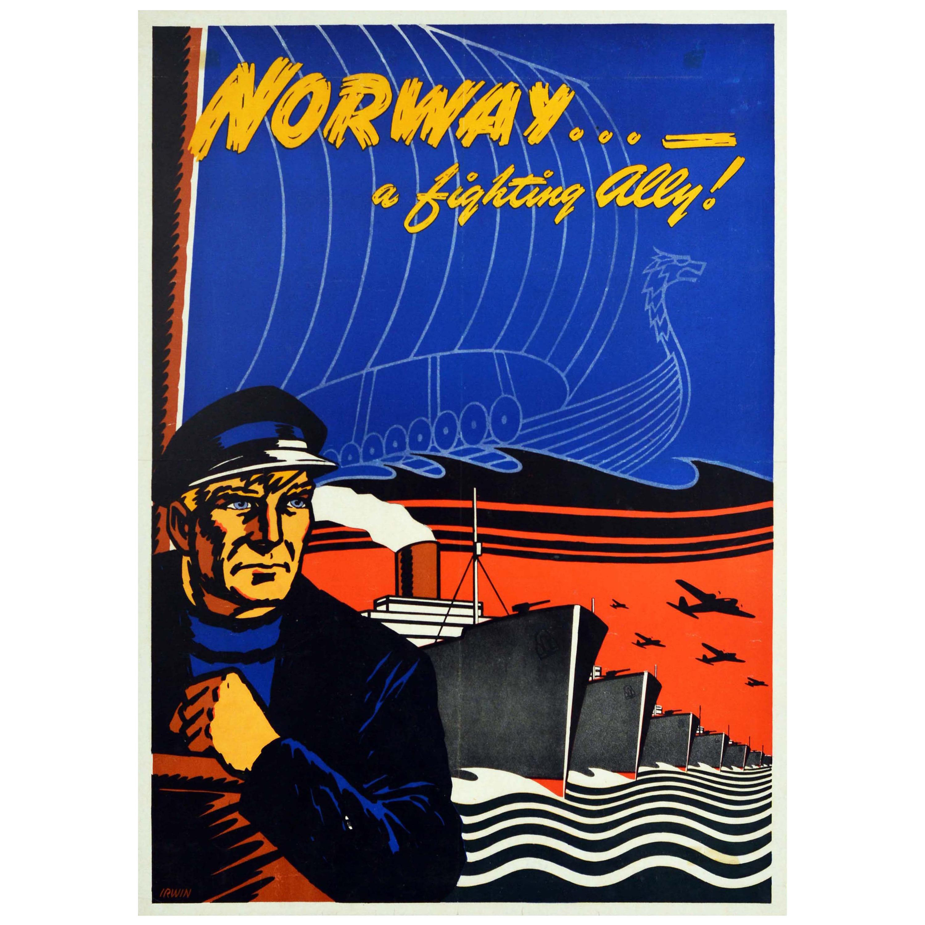 Original Vintage WWII Poster Norway A Fighting Ally Viking Boat War Ships Planes