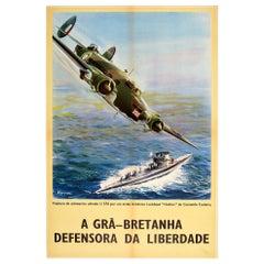 Original Vintage WWII Poster RAF Coastal Command Lockheed Hudson Submarine Uboat