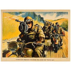 Original Vintage WWII Poster Tommy Guns British Army Motorcycle Reconnaissance