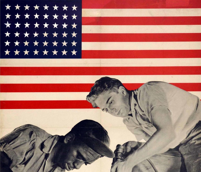 Original vintage World War Two propaganda poster issued by the War Manpower Commission promoting racial solidarity among wartime workers featuring a black and white photograph of two factory workers working together at an integrated aircraft plant
