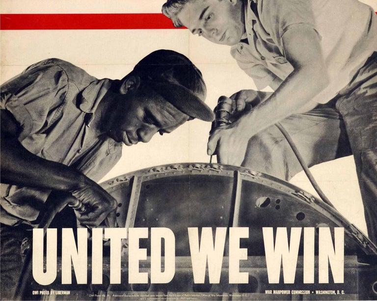 American Original Vintage WWII Poster United We Win War Effort Factory Workers USA Flag For Sale