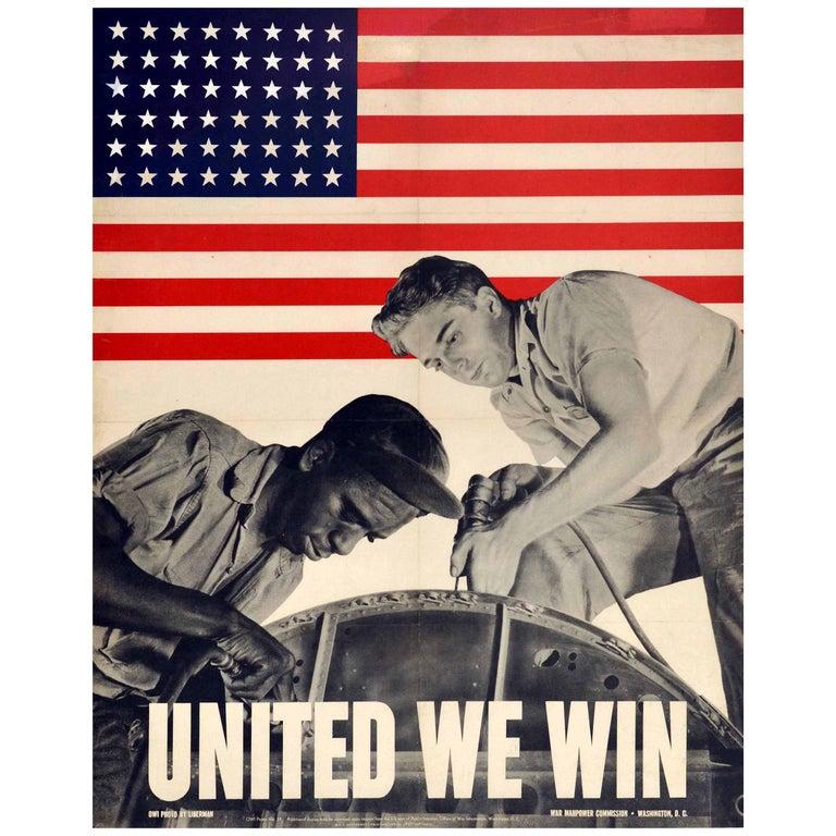 Original Vintage WWII Poster United We Win War Effort Factory Workers USA Flag For Sale