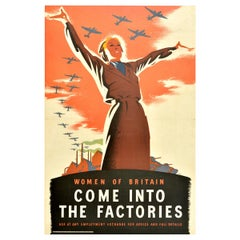 Original Vintage WWII Poster Women Of Britain Come Into The Factories War Effort