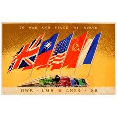 Original Vintage WWII Railway Poster - In War and Peace We Serve GWR LMS LNER SR