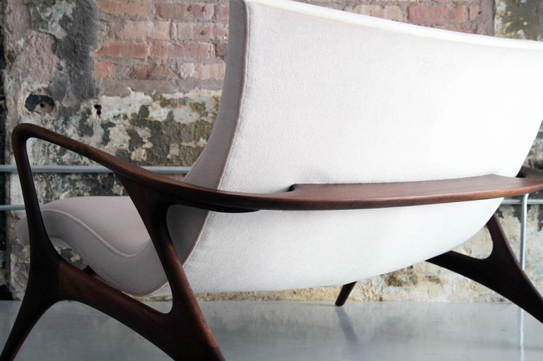 Late 20th Century Original Vladimir Kagan 'Contour Sofa' in Sculpted Walnut and Mohair, 1970s For Sale