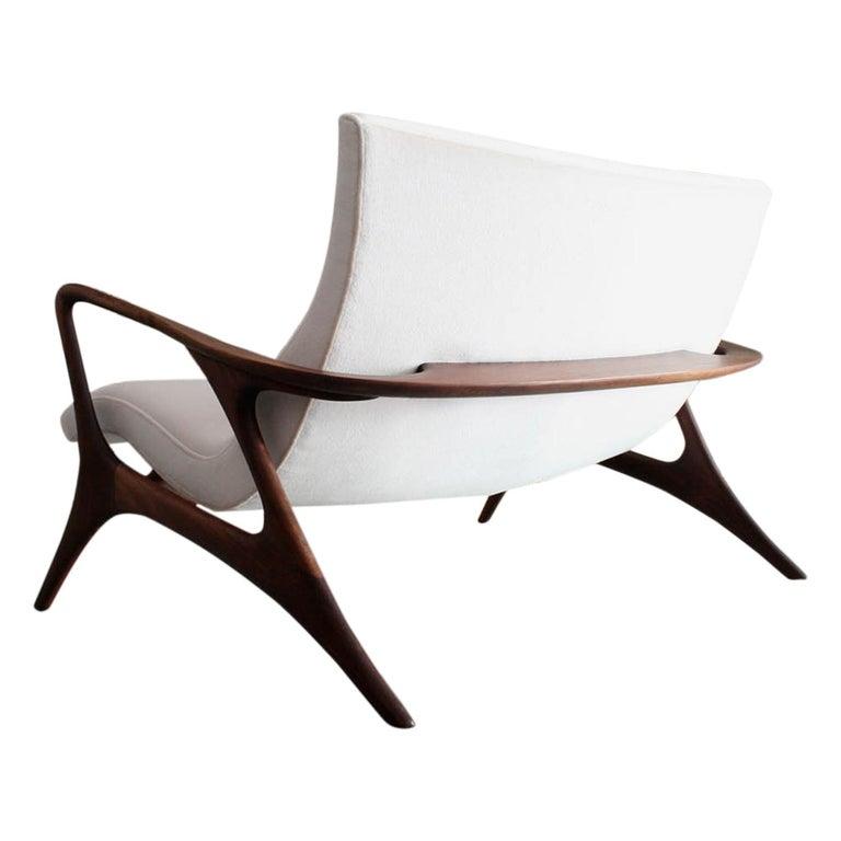 Original Vladimir Kagan 'Contour Sofa' in Sculpted Walnut and Mohair, 1970s For Sale