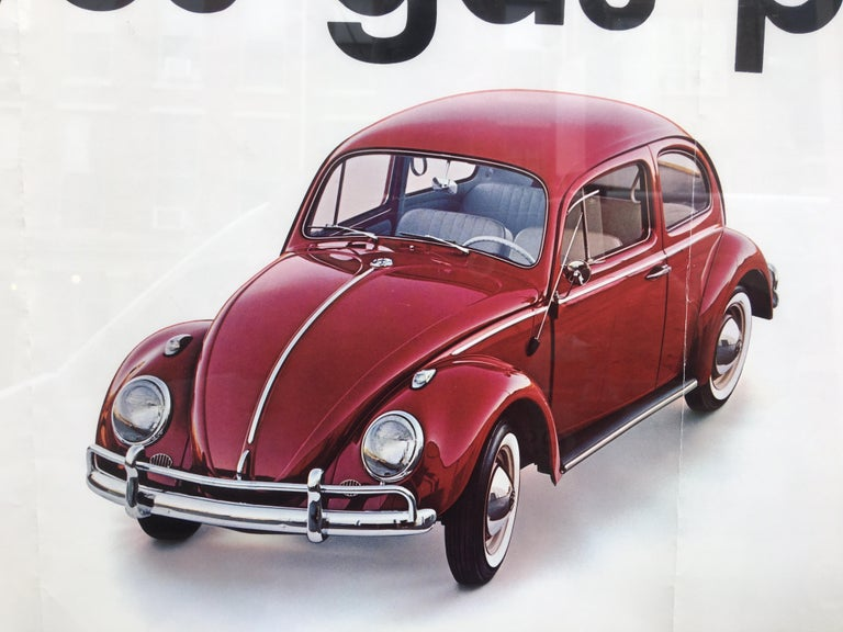 Early 1960's VW Dealership Poster. Posters were sent directly to VW Showrooms and displayed throughout. Posters were sent folded, hence the two creases.