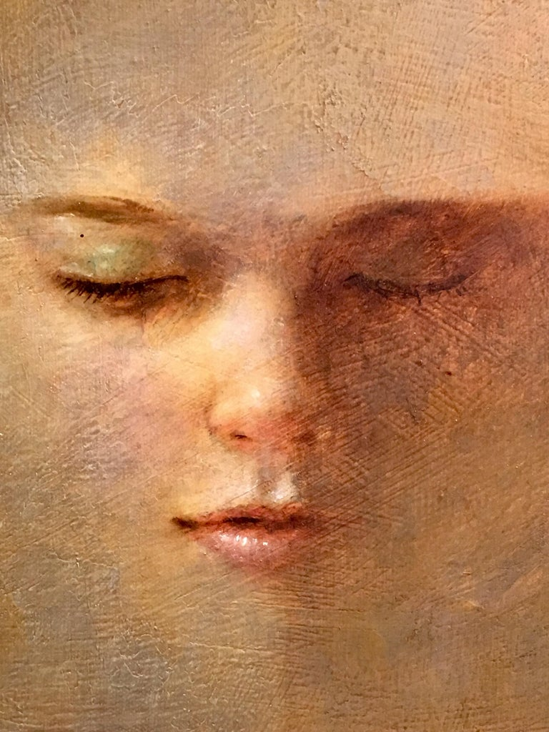 Modern Original Wade Reynolds Mysterious Midcentury Oil Painting of a Girl's Face For Sale