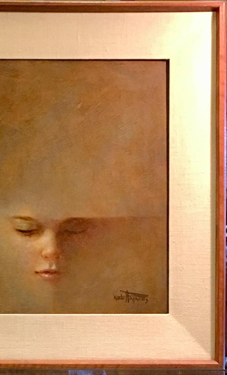 American Original Wade Reynolds Mysterious Midcentury Oil Painting of a Girl's Face For Sale