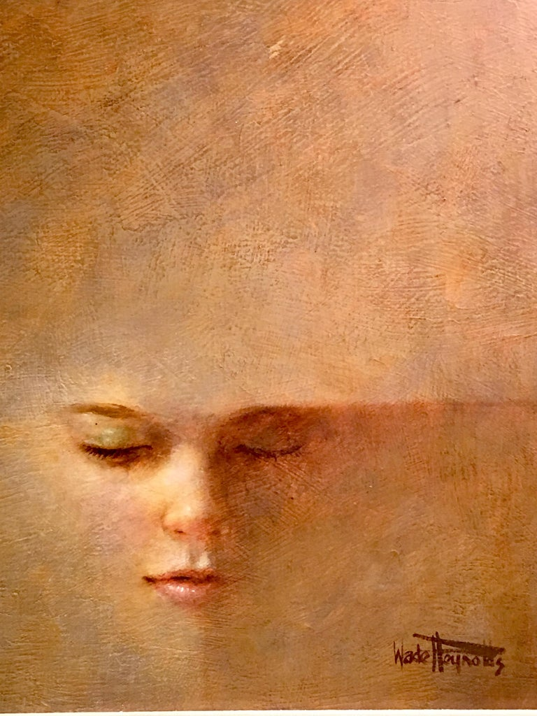 Hand-Painted Original Wade Reynolds Mysterious Midcentury Oil Painting of a Girl's Face For Sale