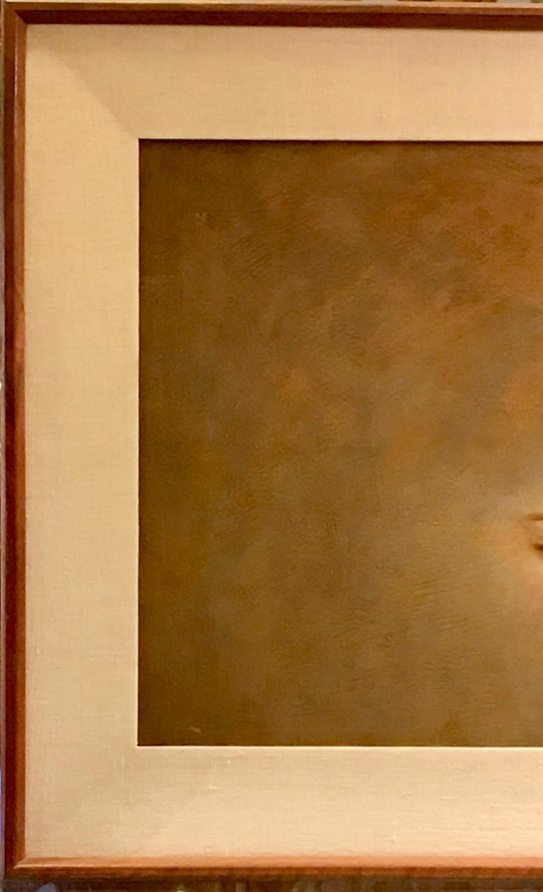 20th Century Original Wade Reynolds Mysterious Midcentury Oil Painting of a Girl's Face For Sale