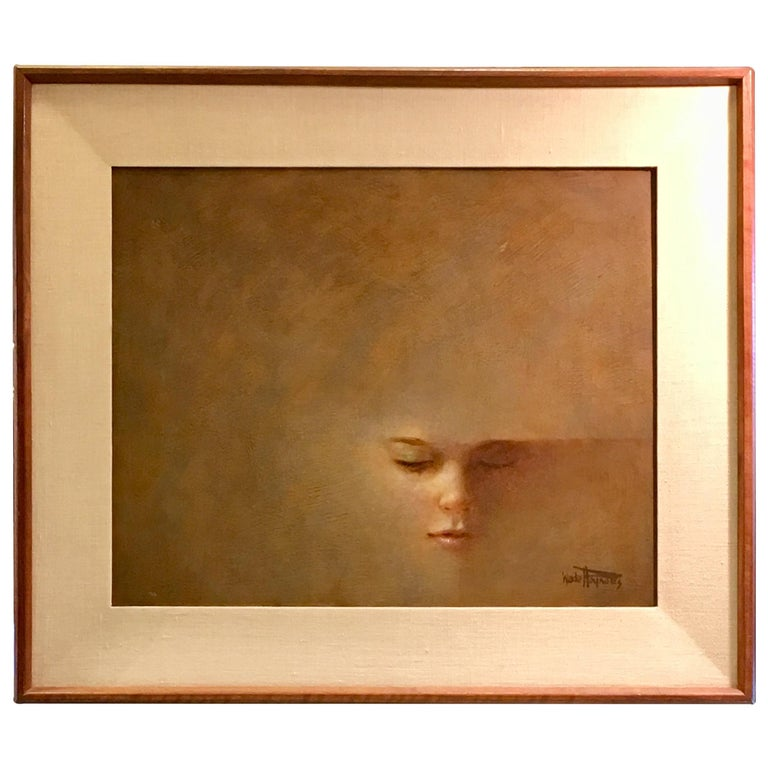 Original Wade Reynolds Mysterious Midcentury Oil Painting of a Girl's Face For Sale