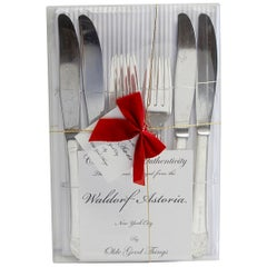 Original Waldorf Astoria 8-Piece Art Deco Salad Knife and Fork Gift Set