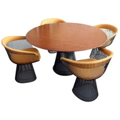 Original Walnut and Bronze Dining Set with 4 Chairs by Warren Platner for Knoll