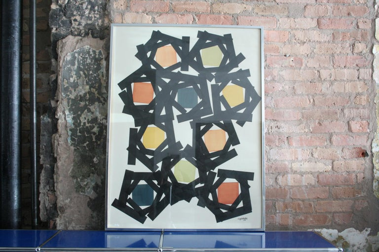 Original ink and watercolor painting on paper board by Angelo Testa. Signed by the artist. Retains its original frame (aluminum and wood) behind glass. In very fine condition. No sun fading, wrinkling, foxing or staining to the paper board is