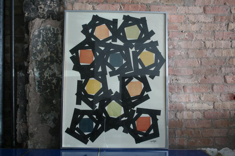 Mid-Century Modern Original Watercolor by Angelo Testa, 1978 For Sale