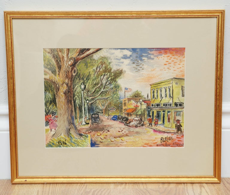 Beautiful landscape watercolor of the main street in Winter Park, Florida in 1946. Image size 10.5